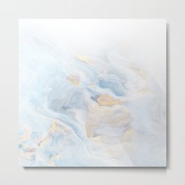 Liquid Marble Ombre blue, white, gold Metal Print