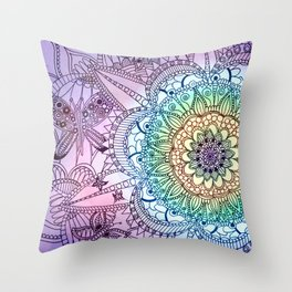 Purple Butterfly Mandala Throw Pillow