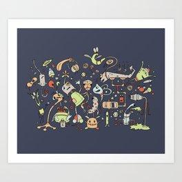 Doodle Bots by dana alfonso Art Print