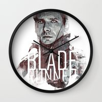 blade runner Wall Clocks featuring Blade Runner by Duke Dastardly