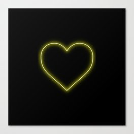 Yellow Neon Valentines Love Heart Canvas Print