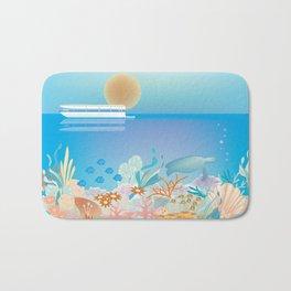 Great Barrier Reef, Australia - Skyline Illustration by Loose Petals Bath Mat