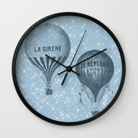 hot air balloons Wall Clocks featuring Hot Air Balloons by Zen and Chic