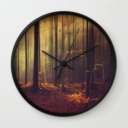 Light Hunters - Abstract orest in Sunlight Wall Clock