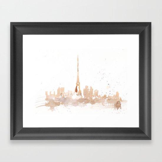 Watercolor landscape illustration_Paris Framed Art Print