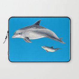 Bottlenose dolphin blue background Laptop Sleeve
