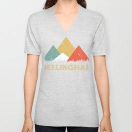 Retro City of Bellingham Mountain Shirt Unisex V-Neck