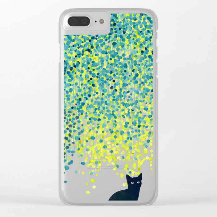 Cat in the garden under willow tree Clear iPhone Case