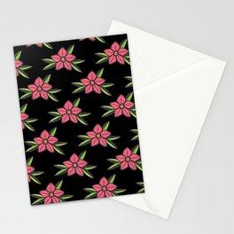 Hand Drawn Old School Tattoo Flower - Black Stationery Cards