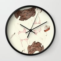 sister Wall Clocks featuring Twisted Sister by Brooke Weeber