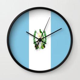 Flag of Guatemala- Guatemalan, Mixco,Villa Nueva,Petapa,tropical,central america,spanish,latine Wall Clock
