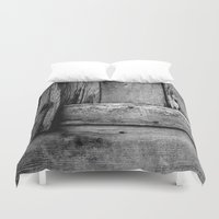 wooden Duvet Covers featuring wooden by Bonnie Jakobsen-Martin