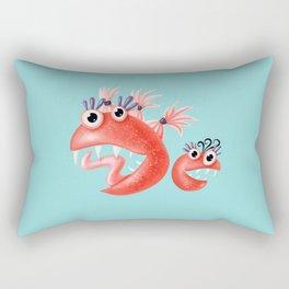 Happy Monster Friends - Funny Weird Characters Rectangular Pillow