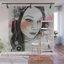 Treasure (young cute girl, magnolia & mandalas) Wall Mural