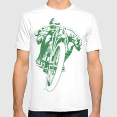 Motorcycle Board Track Racer 2 Mens Fitted Tee X-LARGE White