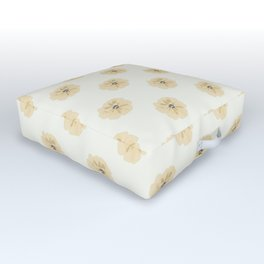 Modern Flowers Tan, Gold, Yellow, Grey Symmetrical, Elegant Simple Floral Repeat Contemporary Design Outdoor Floor Cushion
