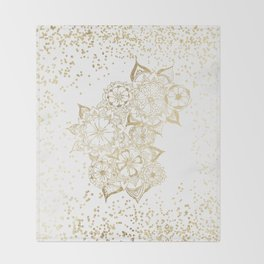 Hand drawn white and gold mandala confetti motif Throw Blanket