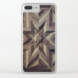 Woodcarved star Clear iPhone Case