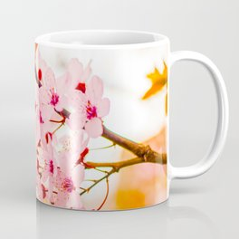 Beautiful Floral Pink Cherry Blossoms With Orange Leaves As Accent Coffee Mug