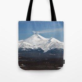 Avachinsky Volcano and Kozelsky Volcano, panorama view of volcanoes of Kamchatka Peninsula Tote Bag