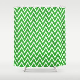 Key Lime Southern Cottage Ikat Chevrons Shower Curtain