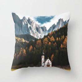 santa maddalena church in val di funes Throw Pillow