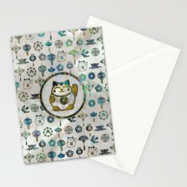 Maneki Neko Lucky cat on  pearl and abalone Stationery Cards