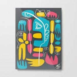 Blue Pink Yellow Cool Monsters Street Art Decoration Metal Print