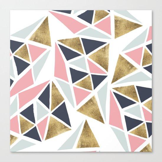 Modern geometrical pink navy blue gold triangles pattern Canvas Print