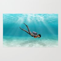 diver Area & Throw Rugs featuring S.C.U.B.A. Diver by MacDonald Creative Studios