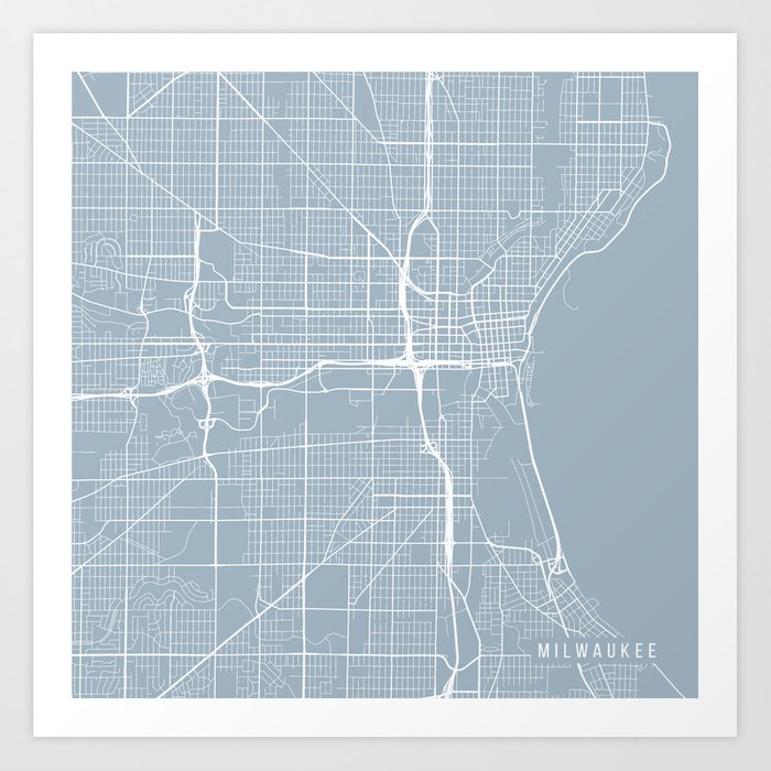 Milwaukee Map Usa Slate Art Print By Mainstreetmapscolor Society6