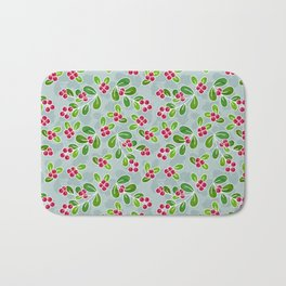 Cranberry Fruit Pattern on Blue-Grey Bath Mat