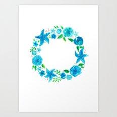 Key West Beachy Wreath Art Print