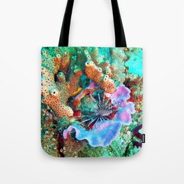 Coral and Lionfish, Underwater photo by John Schwalbe Tote Bag