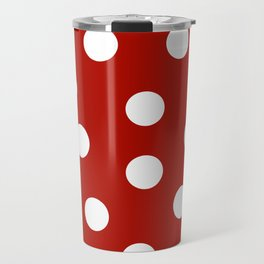 Polka Dots - Mordant Red and White Travel Mug