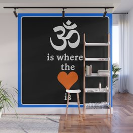 Om is where the Heart Is Print (Blue Detail) Wall Mural
