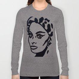 Sophia Loren Black & White Portrait Painting Movie Star  Long Sleeve T-shirt