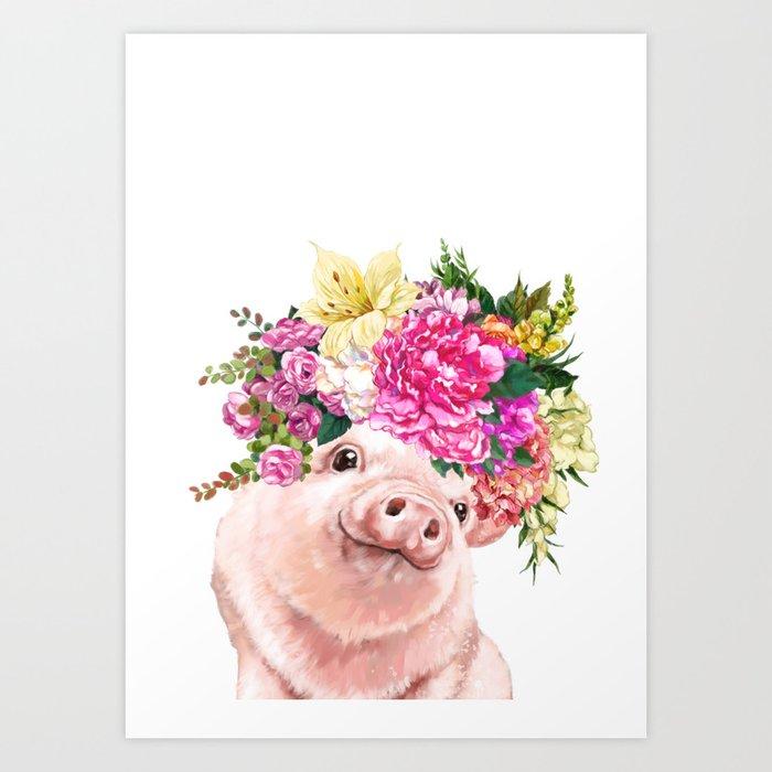 Flower Crown Baby Pig Art Print