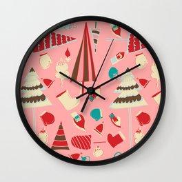 Vintage Christmas Pink Wall Clock