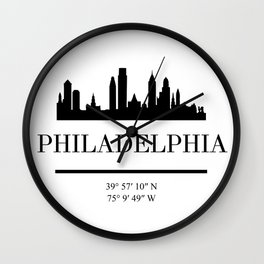 PHILADELPHIA PENNSYLVANIA BLACK SILHOUETTE SKYLINE ART Wall Clock