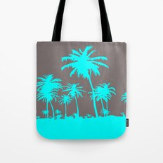 Turquoise Palm Trees Tote Bag