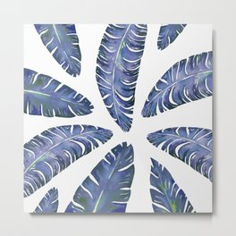 Tropical Banana Leaves Blue #society6 #buyart Metal Print