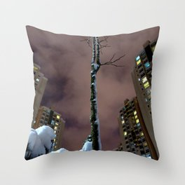 lonely tree in the city Throw Pillow