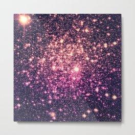 Glitter Galaxy Stars : Mauve Pink Purple Metal Print