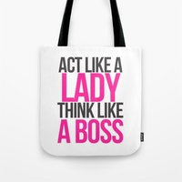 boss Tote Bags featuring Boss by I Love Decor