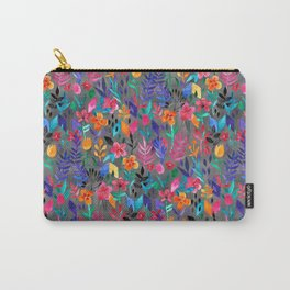 Popping Color Painted Floral on Grey Carry-All Pouch