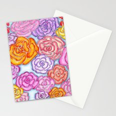 Multi-Colored Roses on Blue Stationery Cards