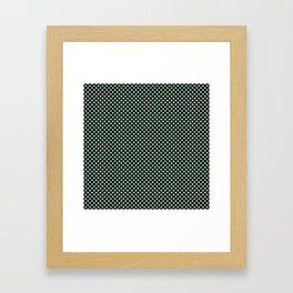 Black and Grayed Jade Polka Dots Framed Art Print
