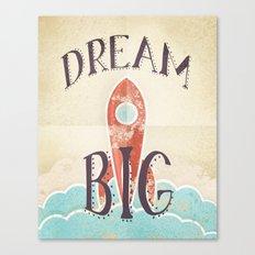 Dream Big - Retro Rocketship Child's Nursery Art Canvas Print