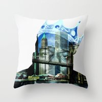 notorious big Throw Pillows featuring Notorious B.I.G. by J Blackwell